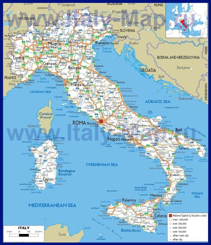 Карта дорог �талии