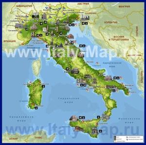 Карта Италии с курортами
