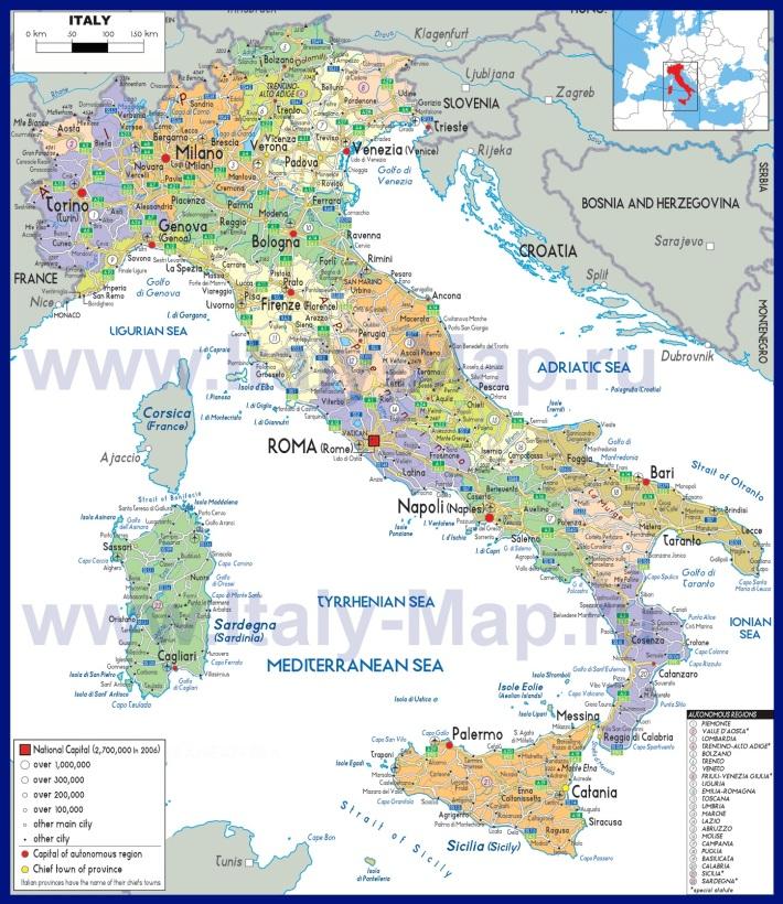Политическая карта Италии